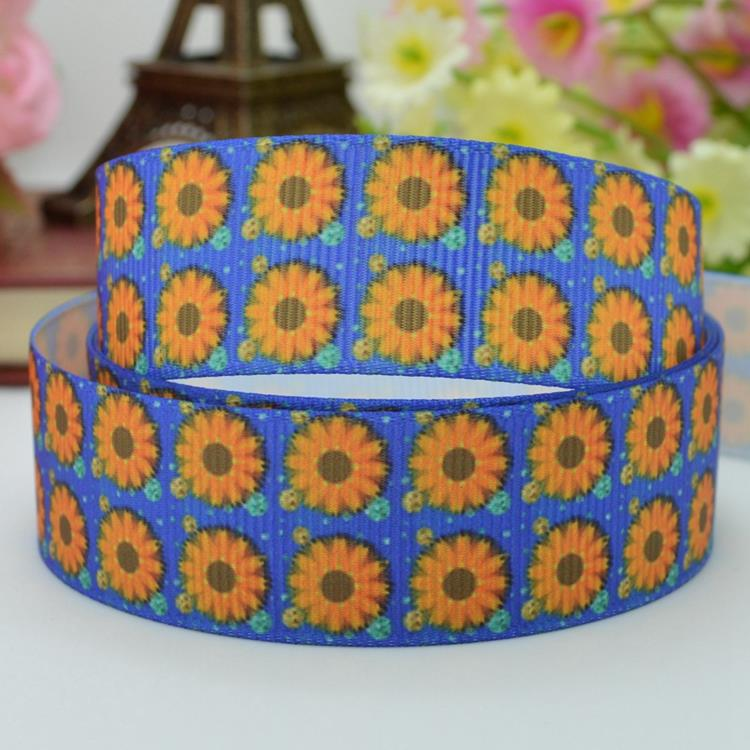 High quality printed ribbon 50 yards Sunflower birthday gift paking polyester single face