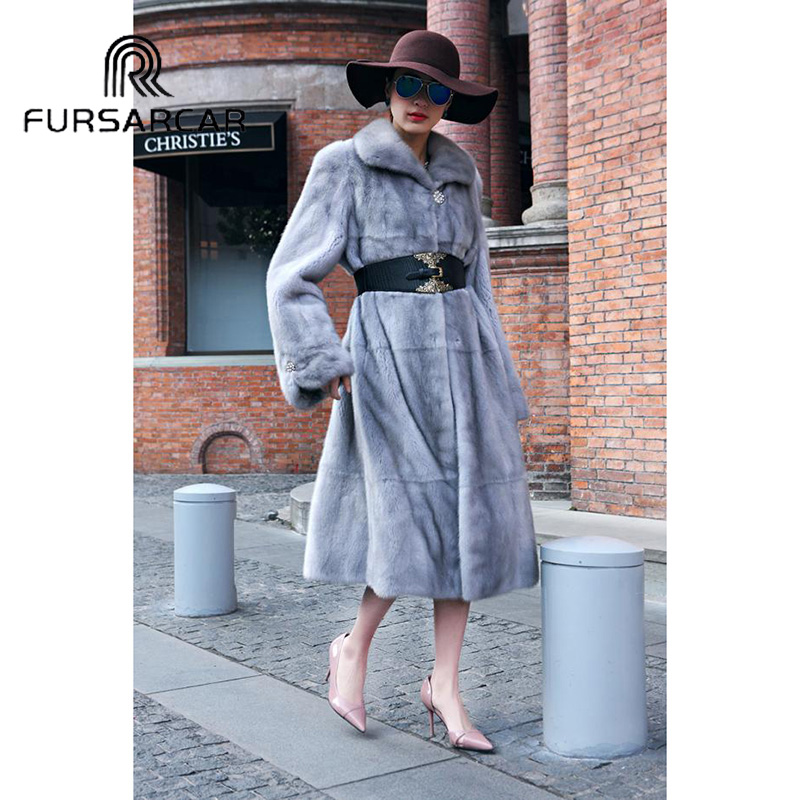 FURSARCAR Fashion New Natural Real Fur Coat Women Luxury Genuine Leather Mink Winter With Turn-down Collar