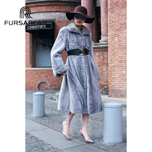 FURSARCAR Fashion New Natural Real Fur Coat Women Luxury Genuine Leather Mink Winter With Turn-down Collar