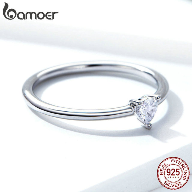 BAMOER HOT SALE 925 Sterling Silver Heart Clear CZ Simple Finger Rings for Women Engagement Wedding Statement Jewelry  SCR498 3