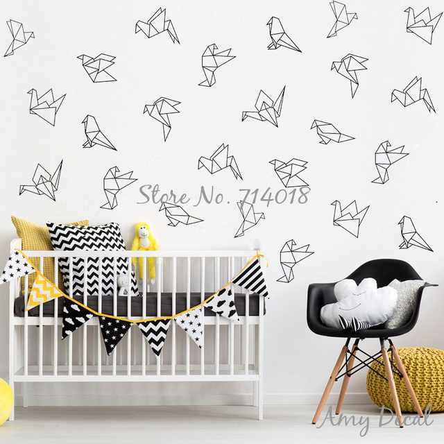 912a78d753 Geometric Origami Birds Wall Decals 9 styles 45 pcs Decals Geometric Vinyl  Wall Stickers For Kids Room Unique Home Decor A821