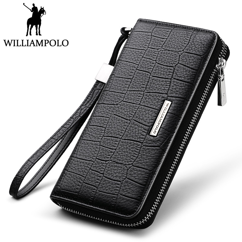 WILLIAMPOLO Genuine Leather Long Wallet Men Zipper Wallet Clutch Bag Card Holder Hand Strap Purse Luxury Brand Phone Wallet Male