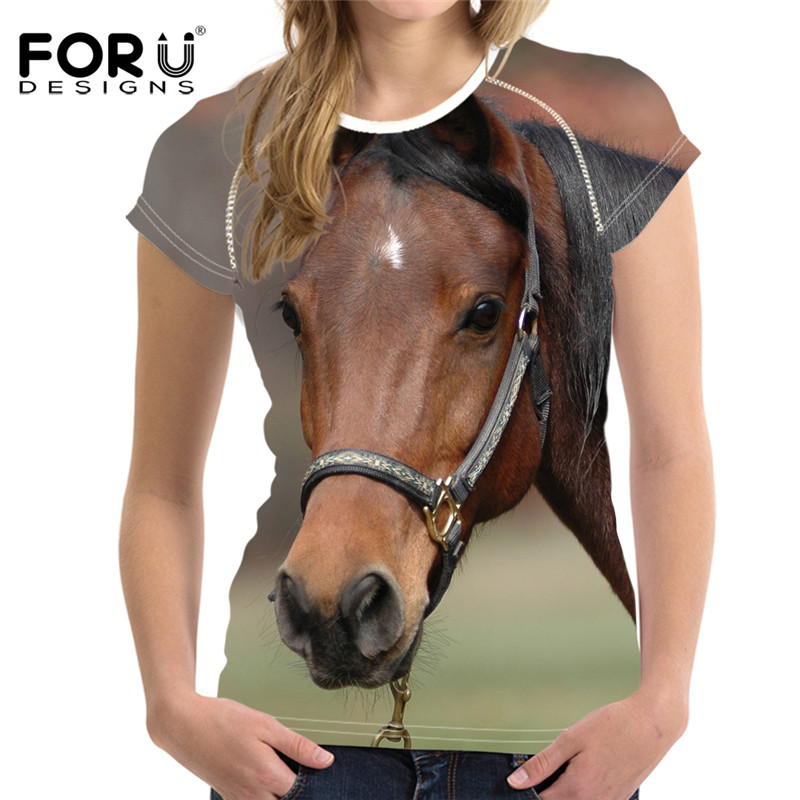 FORUDESIGNS Crazy Horse t Shirt Women Tee Tops Femme Brand,3d Kawaii Basic Ladies T-shirt Slim Woman Elastic Clothes Plus Blusa