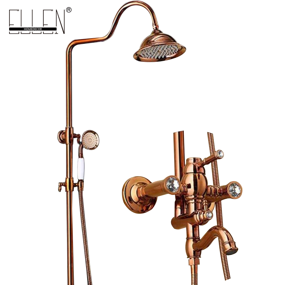 Classic Luxury PVD Rose Gold Plate Bathroom Rain Shower Set Finished Luxury Wall Mounted Bath Shower Faucet Copper ELS2002