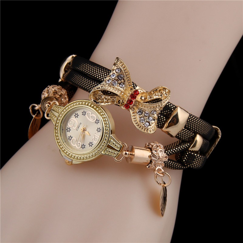 Minhin Butterfly Retro Bracelet Watches Women Lovely Wedding Quartz Wrist Watches 6 Colors Rhinestone Delicate Female Watches #4