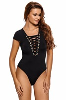 Top Rompers Bodycon Jumpsuit Black Lace Up Cap Sleeves Bodysuit Sexy Women Bodysuit Rompers Hot Sale underwear women Teddy