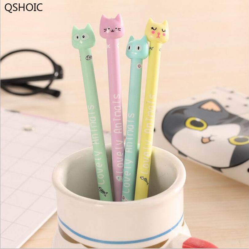 60pcs/lot Cute 3D Cat 0.5mm Black Ink Gel Pen/kawaii Signature Pen/Funny Students Gift/office School Stationery Supplies G149