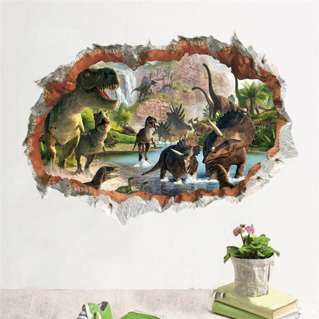Jurassic Park Wall Stickers 3d Dinosaur Stickers For Kids Room Living Room Home Decor Diy Cartoon Nursery Movie Mural Art PVC