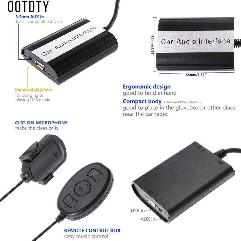 OOTDTY nouveau Hot 1 Set mains libres Auto voiture Bluetooth Kits musique MP3 AUX adaptateur Interface USB charge pour Toyota Lexus 5 + 7Pin - 5