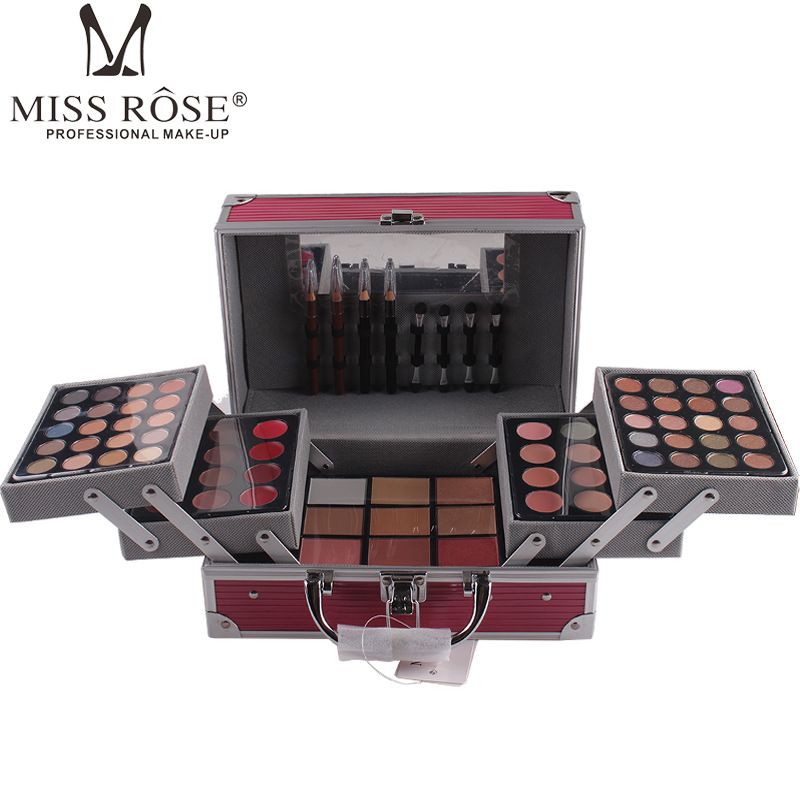Makup Tool Kit scatola di Alluminio Tra Cui Luccichio Matte Eyeshadow Rossetto Correttore Blush, fard Spazzola di Trucco del Corredo Cosmetico Maquiagem - 2