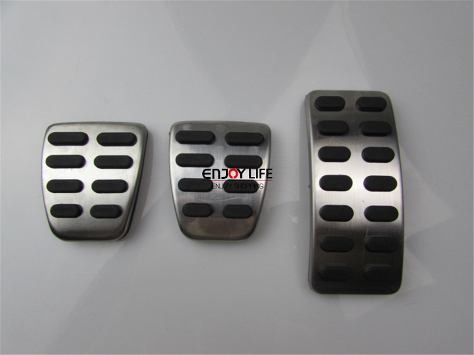 3pcs Gas Fuel Brake Footrest Foot Pedal Pad Plate AT For Audi A4 B9 2016 2017