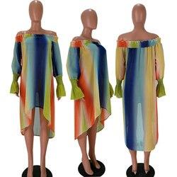 Sukienka Neon Sukienka kobiety lato paski Off Shoulder szyfonowa plaża sukienki luźne woal nieregularny tęczowy Sukienka z włókna Plus rozmiar 5
