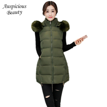 Women's Winter Down Jackets Big Fur Collar Women Long Vest With Hood Plus Size Woman Warm Jackets Female Vest Outerwear SHZ18