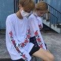 New Spring Autumn Sweatshirt Harajuku Kpop Streetwear Tops Rose Print Long Sleeve Sweatshirt Women Loose Pullovers