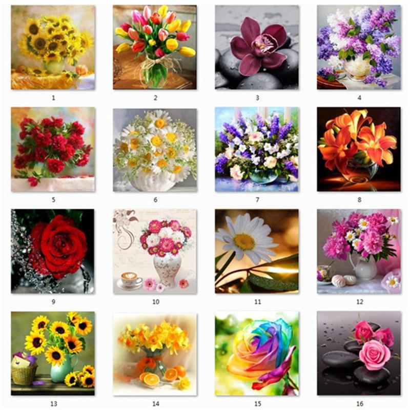 5D DIY Алмазная Цветочная композиция Цветочная ваза вышивка крестиком Алмазный Вышивка мозаика Алмазный домашний декор