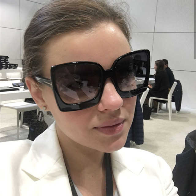 a2ab9fa5cc95 HBK Ladies Square Sunglasses 2019 New Style Sun Glasses Brand Design Women  Big Frame Eyewear For