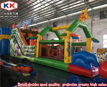 Jungle Animals Theme Green Outdoor Sports Goods Inflatable Slide For Kids