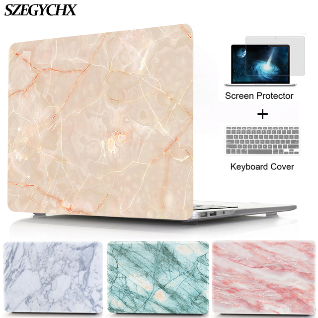 Marble Texture Hard Laptop Case Sleeve For Macbook Air Pro Retina 11 12 13 15 Touch Bar For macbook New Air 13 A1932 2018 shell