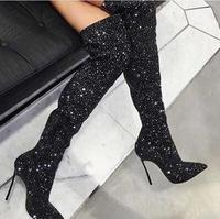 Luxury Crystal Cover Women Pointy Toe Boots Glittering Metal Thin High Heel Thigh High Boots Slim Fit Bling Rhinestone Boots