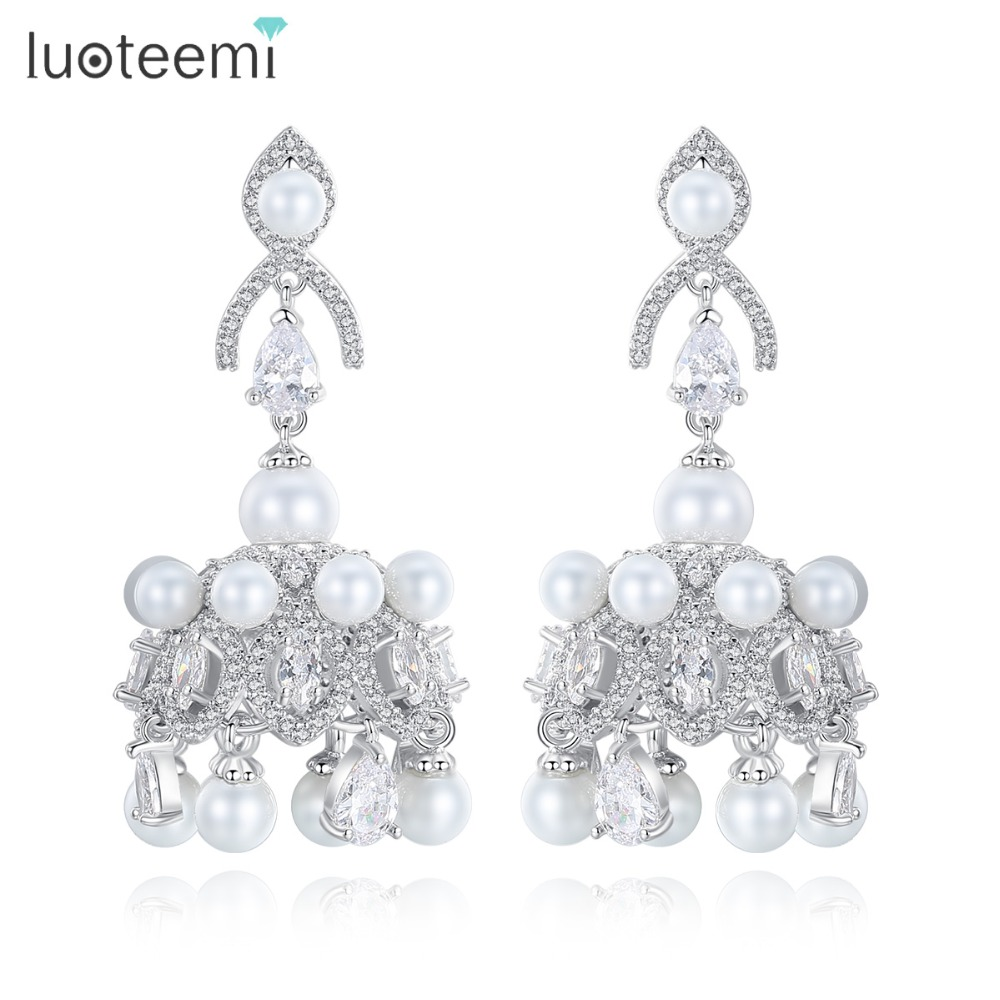 LUOTEEMI Brand Fashion Imitation Pearl Dangle Earring With CZ Crystal For Women White Gold Color Bride Drop Earring Brincos 2018