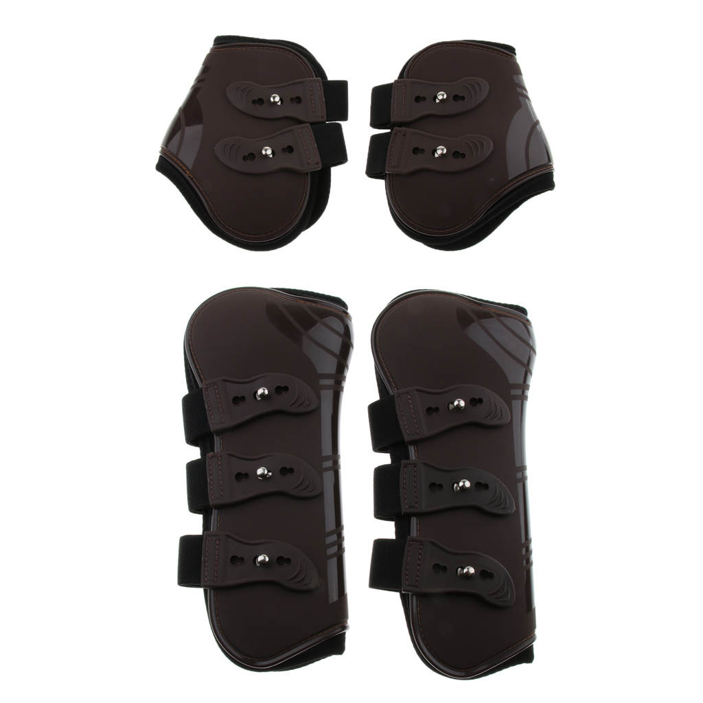 Horse Riding Tendon And Fetlock Boots Set, Shock Absorbing Show Jumping Competition Leg Protection - 4 Pack