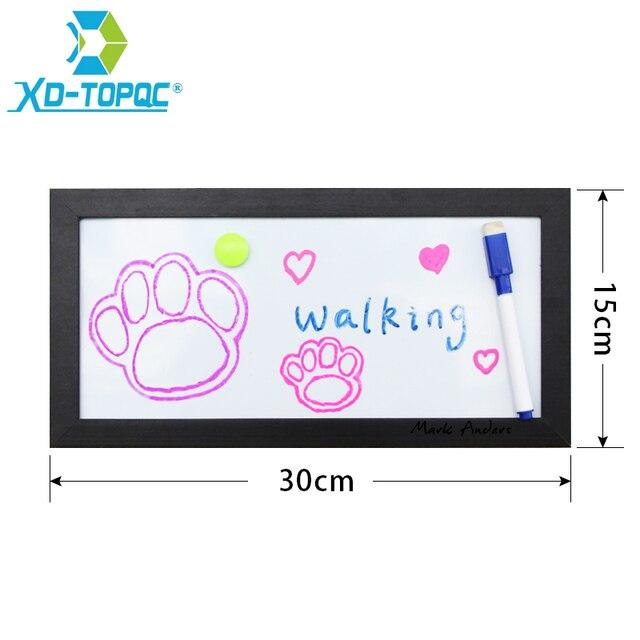 XINDI New 15x30cm Mini Whiteboard MDF Frame Magnetic White Board Home  Decorative Memo Message Erasable Boards