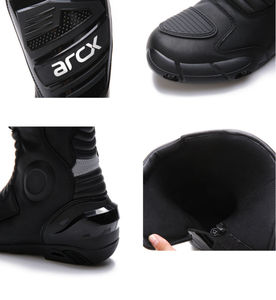 Image 5 - how yes ARCX men motorcycle boots professional motorcross racing boots windproof shoes free shipping  black color
