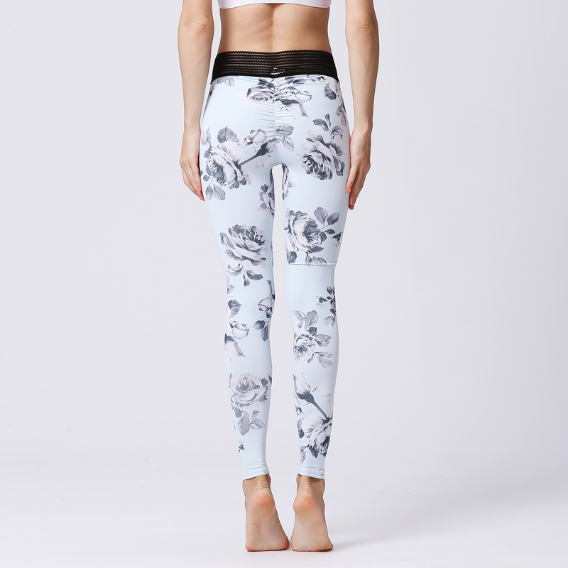 Sexy Women Yoga Pants Flower Print High Waist Sports Tights Female Sport Wear Fitness Gym Legging Push Up Training Workout Pants in Yoga Pants from Sports Entertainment