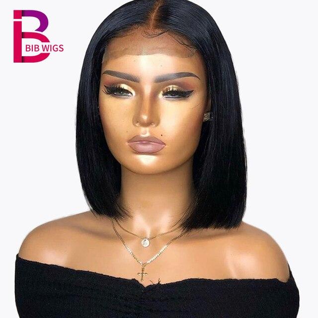 150% 4 × 4 человеческие волосы на кружеве парики натуральные черные бразильские волосы Remy короткий парик-Боб для женщин предварительно сорвал с детскими волосами нагрудник полный конец
