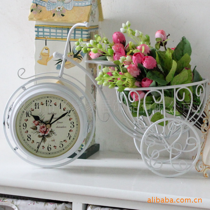 retro bicycle double sided clock metal desk clock tv cabinet home decoration desk u0026 table clocks from home u0026 garden on
