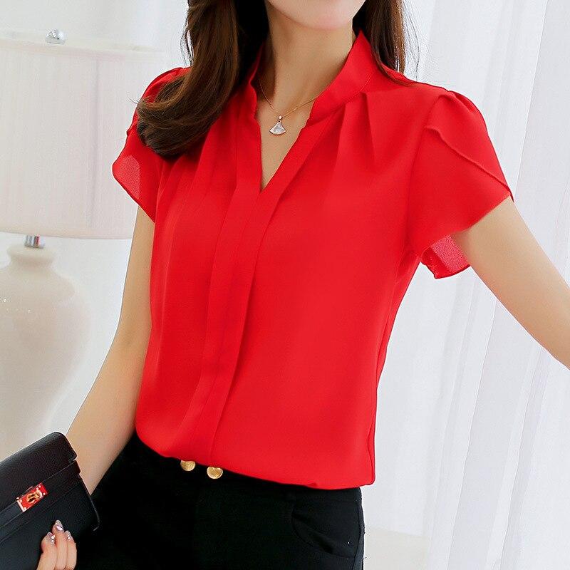 Women Chiffon Blouse Short Sleeve Red Ladies Office Ladies Shirts Female Cloth