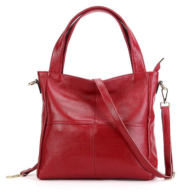 2018 Casual Large Tote Women'S Genuine Leather Shoulder Bag 100% Natural Cowhide Cross-body Bags Brand handbag for Ladies fashion 100% real genuine leather ol style women handbag tote bag ladies shoulder bags casual tote cross body bag large bag