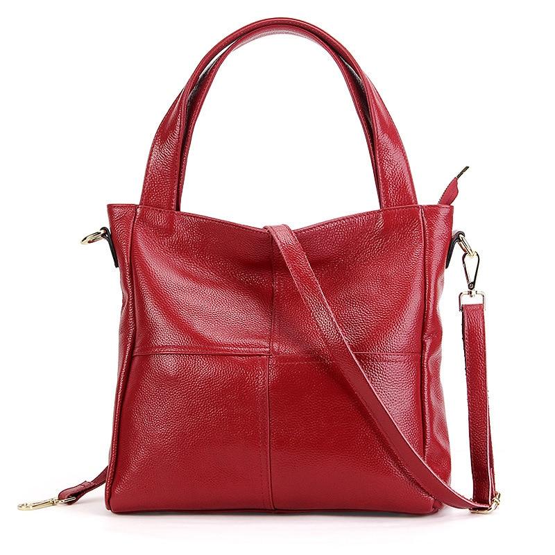 2018 Casual Large Tote Women'S Genuine Leather Shoulder Bag 100% Natural Cowhide Cross-body Bags Brand handbag for Ladies casual genuine leather large capacity one shoulder cross body bags women fashion handbag