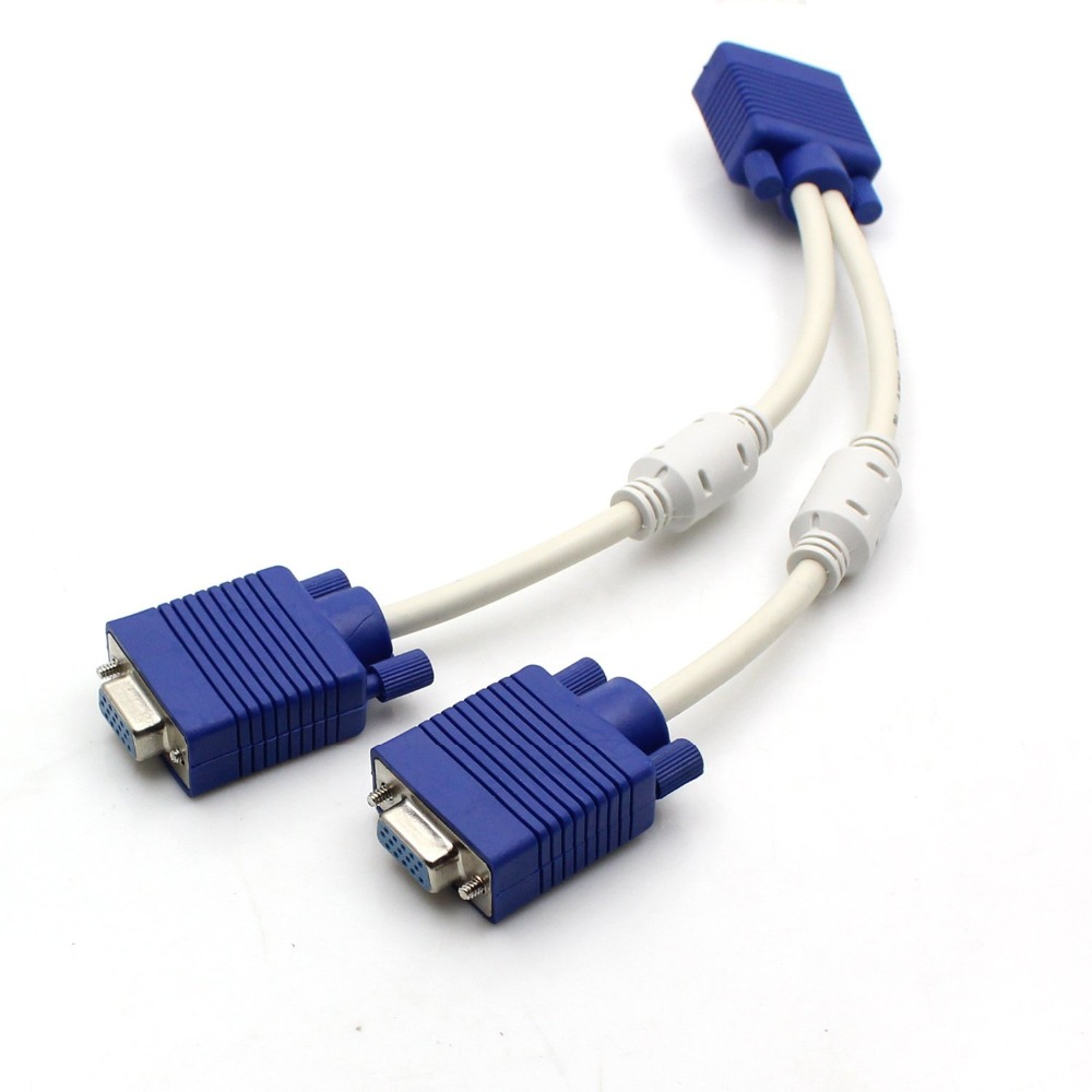 F1 PC TO 2 VGA SVGA MONITOR Male to 2 Dual Female Y Adapter Splitter Cable 15 PIN 30cm