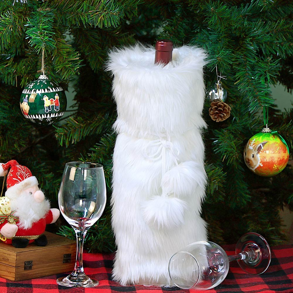Ourwarm christmas wine bottle cover new years decor white jpg 1000x1000 White  christmas decorations for wine c3317f18d9905