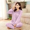 Mulheres sleepwear 2017 algodão primavera e no outono adolescente menina da longo-luva salão de pijama definir plus size feminina 4XL