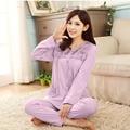 Women sleepwear 2017 spring and autumn cotton teenage girl long-sleeve pajama set plus size female lounge 4XL
