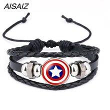 Американский супергерой, супергерой, Бэтмен, Человек-паук, Железный человек, Супермен, логотип, кожаный браслет для мальчиков, стеклянный браслет из кабошона