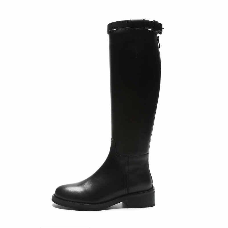 TXCNMB 2019 Botas Mulheres Joelho Botas De Cano Alto para As Mulheres Inverno Couro Genuíno Tow Tamanho 40 Chelsea Calcanhar Sapatos Mulher Negra