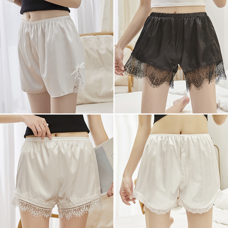 Women Summer Satin Lace Eyelash Lace Under Wear Thin Insurance Shorts High Waist Women Clothes 2019 Mesh Sexy Fem Me