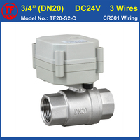 3 4 DC24V 3 Wires Full Bore Motorised Ball Valve SS304 For Control Water