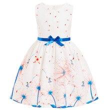 Summer dresses for little girls school wear Dresses Kids Girl Sleeveless Flower Print Cotton and Linen floral Children Dress top все цены