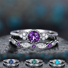 2 PCS/Set Round Purple/Green/Blue/Dark Blue CZ Thin  Rings Set for Woman Charm Party Finger Jewelry girl Gift Dropshipping