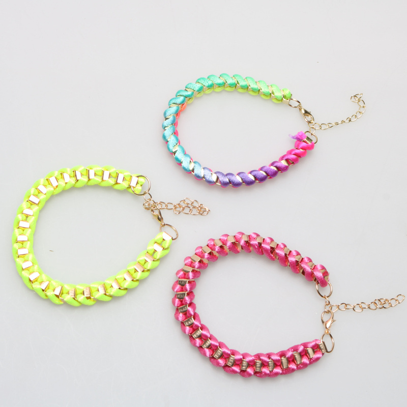 Fashion Fluorescent Color Rope Bracelet Weaving With Thick Gold Chain Chokers Torques Rainbow Neon Color Chunky Bracelet