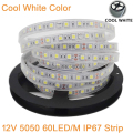 5M DC12V IP67 Silicone Tube Waterproof 5050 SMD 60LED/M 300LEDs White color Flexible LED Strip Light 12V 60 LED/M