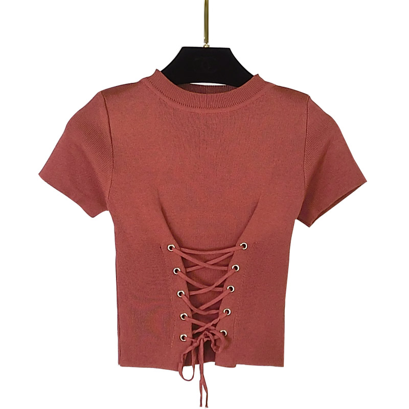 Gkfnmt 2019 New Summer Sexy Women Crop Tops Knitted Short Sleeve O-neck Slim Lace Up Short Tops Pullovers Pink Black White Red