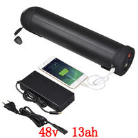 EU US no tax 700W 48V Bottle battery 48V 15AH Electric Bike Lithium Battery use samsung 2600mah cell with BMS 2A Charger