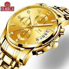 Новый OLMECA Для мужчин s часы лучший бренд Роскошные модные часы кварцевые часы мужской relogio masculino Для мужчин армия спортивные аналоговый Повседневное часы