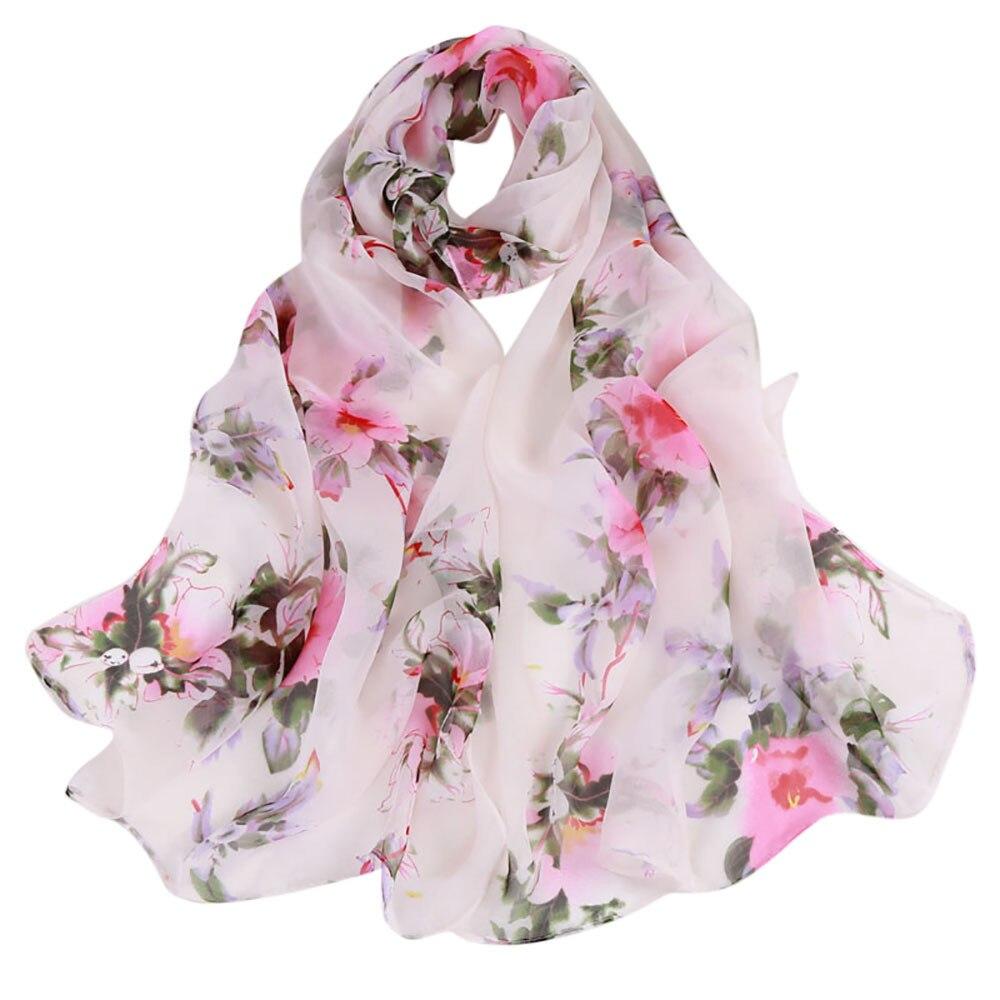 Fashion Women Scarves Peach Blossom Printing Soft Long Wrap Scarf 2018 New Ladies Chiffon Shawl Scarves(China)