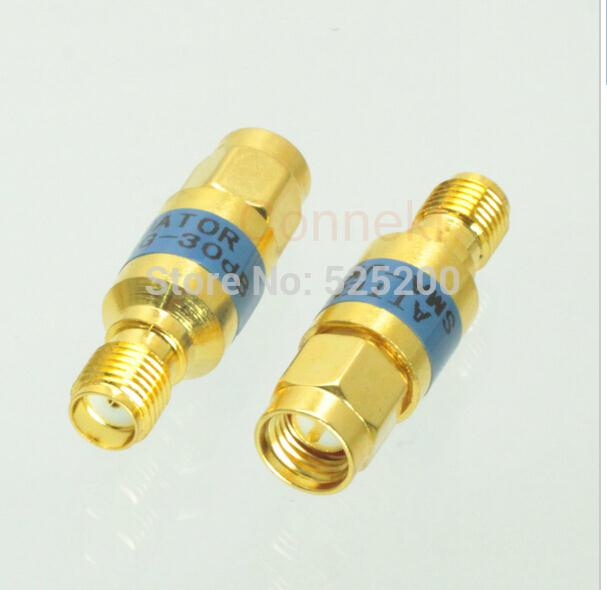 2pcs Free shipping SMA 2W male to female RF Coaxial Attenuator DC - 6.0GHz 30dB 50ohm 2w sma rf blocking filter dc block connector dc 8g